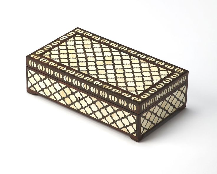 Basan Transitional Rectangular Bone Inlay Storage Box Multi-Color