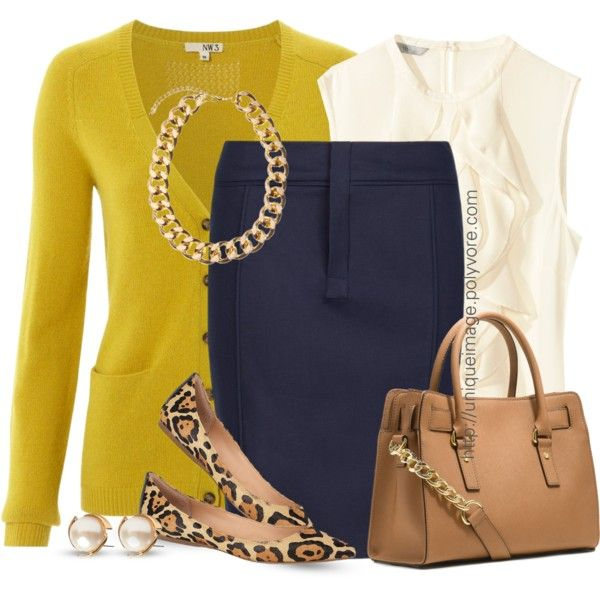 Navy,Yellow & Leopard by uniqueimage on Polyvore featuring Hobbs NW3, H&M, MANGO, Steve Madden, MICHAEL Michael Kors and Louche