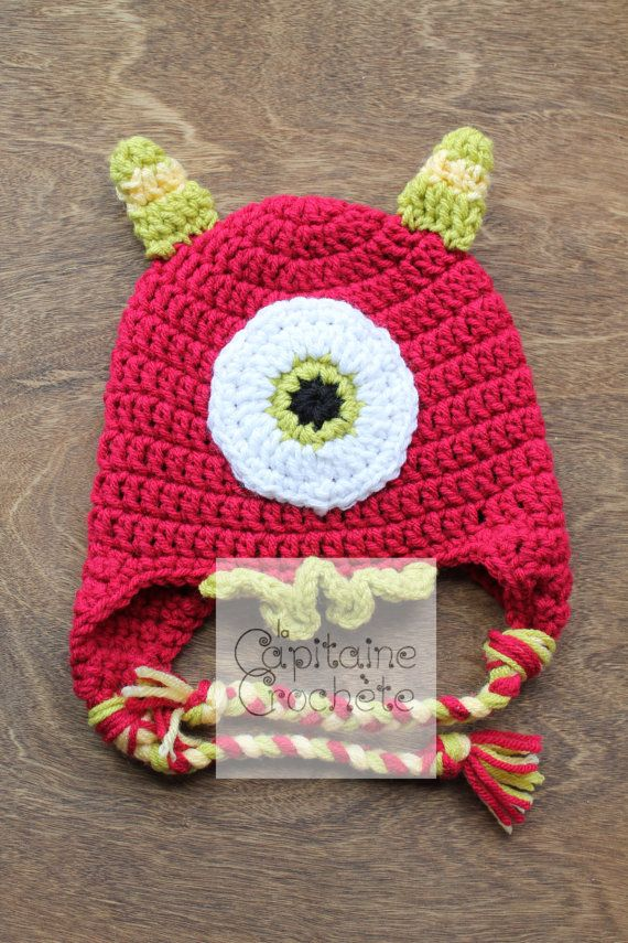 SALE 3-9 months hat monster red green by LaCapitaineCrochete