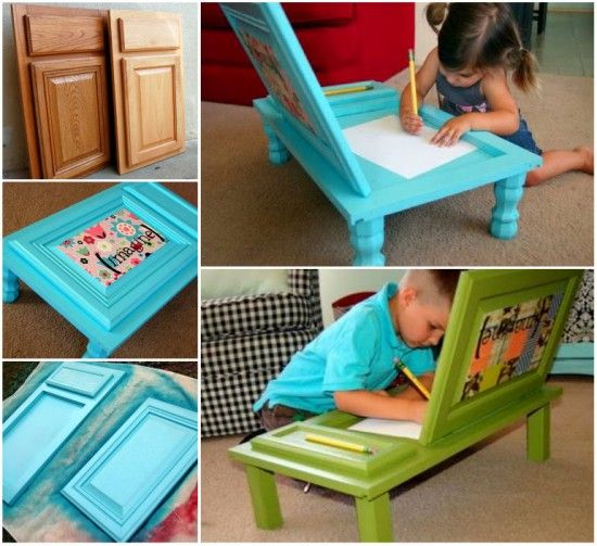 Transform cupboard door into this fantastic art desk for kids . #diy #kids desk #recyclig