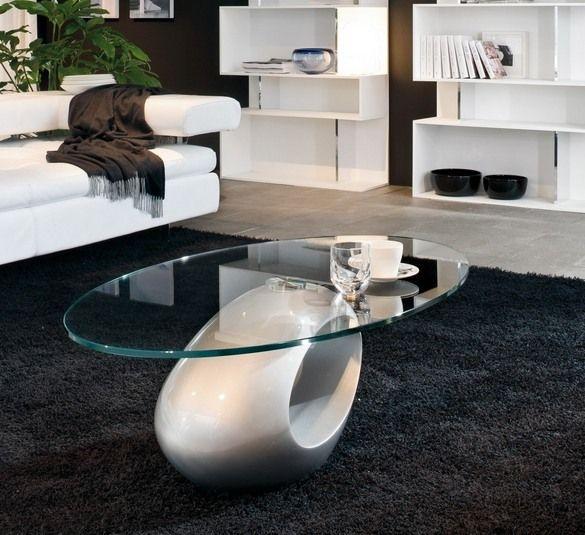 table basse ovale en verre avec base ovoïde