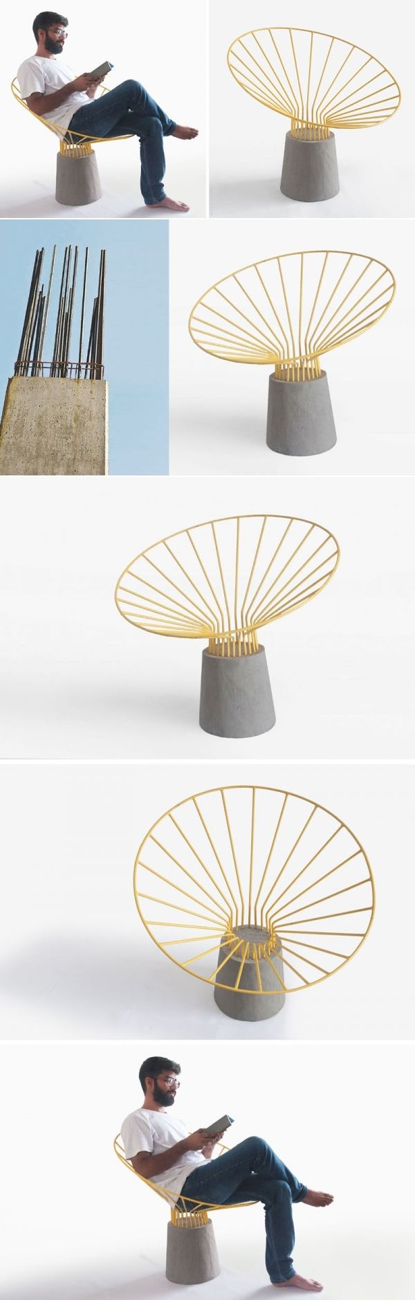 This chair is made from bent steel rods embedded in a concrete base…