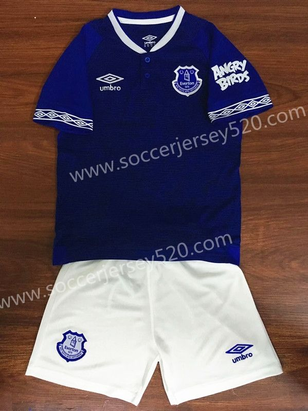 5eee14966 2018 19 Everton Home Blue Kids Youth Soccer Uniform