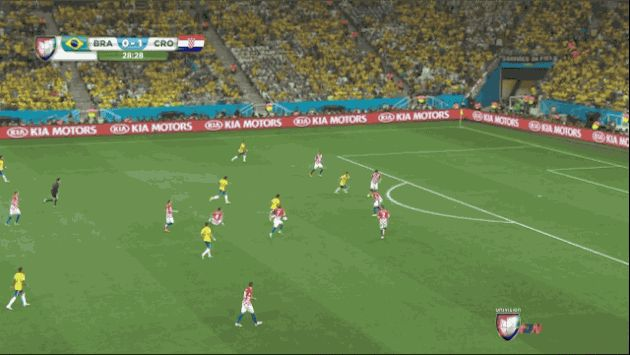Neymar equalised for Brazil in 29 minute in Brazil VS Croatia in first match of the FIFA World Cup 2014