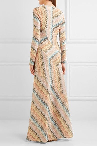 Missoni - Paneled Metallic Crochet-knit Maxi Dress - Peach - IT46