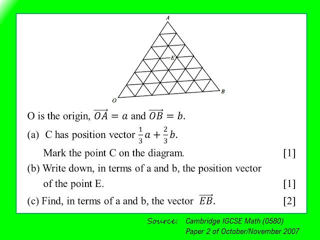 This item is taken from IGCSE Mathematics (0580) Paper 2 of October/November 2007.  ___________________________________________________...
