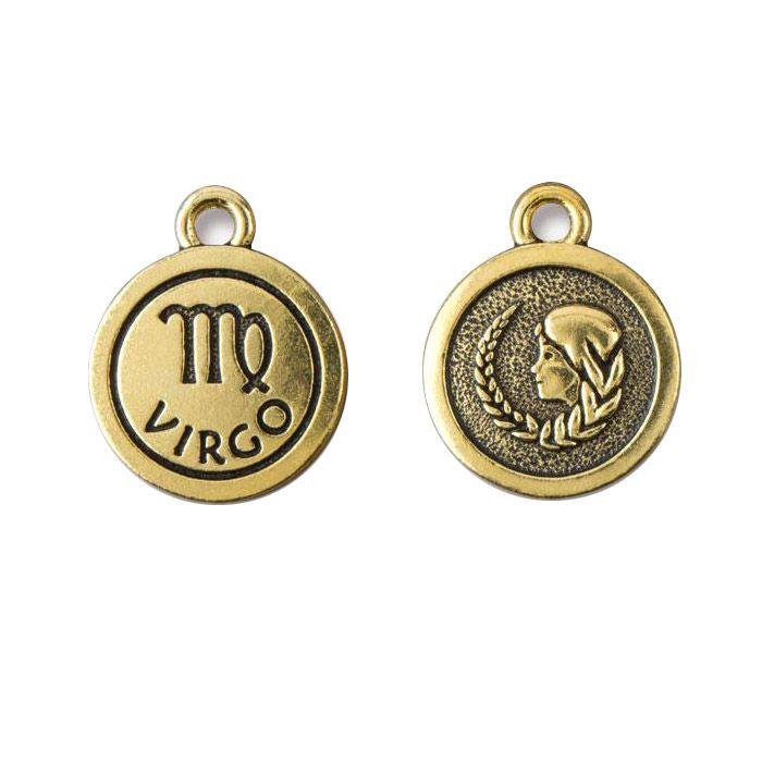 Virgo Charm Antique Gold