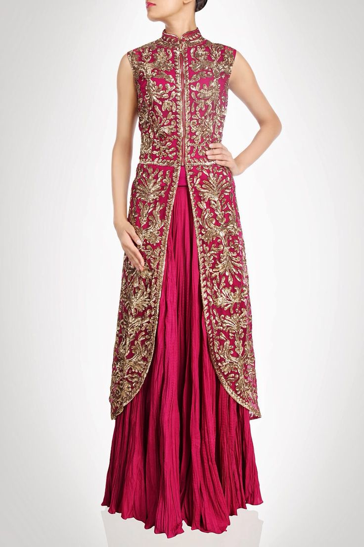 This is a long jacket lehenga. This lehenga is in crushed and gorgette fabric. Jacket of this lehenga is with round corner. Jacket is heavily embroidered with zari, nakshi giving it very royal look. L