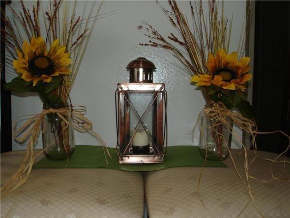 Wheat And Sunflower In Mason Jar Wedding Ideas