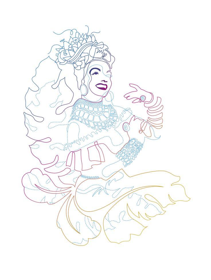 Carmen, miranda, traço, traços, colorido, arco-íris, tropical, brazil, mulher, brasileira, música, cinema, dança