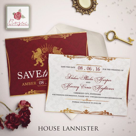 House Lannister  Save the Date Card  Game of by RoseInvitations
