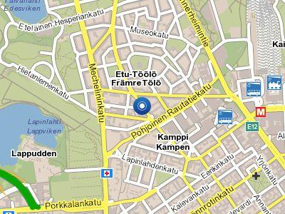 Sijainti Helsingin ytimessä Runeberginkadulla ja tuotteita OmniaShopissa Espoossa