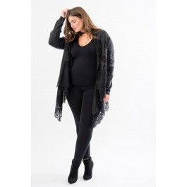 Patterned Cascade Duster with Lace Trim