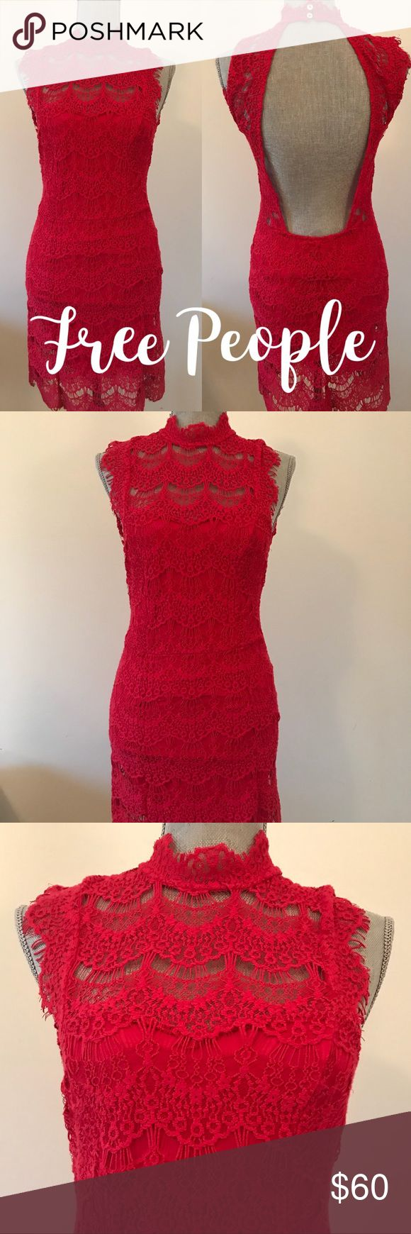 Free People Lace Dress Free People Red lace dress- with open back and goes below the knee. NWT and spare button Free People Dresses