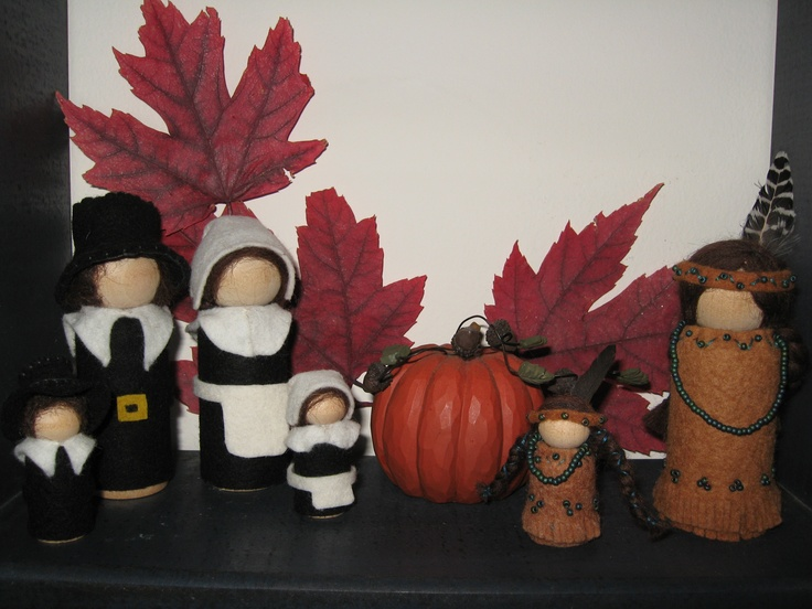 "Thanksgiving Peg People-  Pilgrims: Father, Mother, Son and Daughter  Indian Mother Hope and Daughter Rain   Man OR Woman Pilgrim- Dimensions: 3-9/16"" Tall x 1-1/8"" Wide -   Boy OR Girl Pilgrim- 2-3/8""Tall x 7/8"" Diameter - $38.00 set   HOPE- Dimensions: 3-9/16"" Tall x 1-1/8"" Wide - $16.00  RAIN DROP- 2-3/8""Tall x 7/8"" Diameter - $12.00  https://www.facebook.com/#!/HuckleberryMountain"