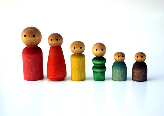 Waldorf Peg People Set Eco Friendly Wooden by IndieBambinoToys