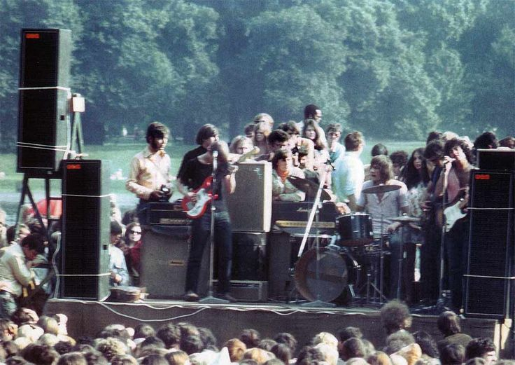 Fleetwood Mac performs at a free concert in Hyde Park, 1968.