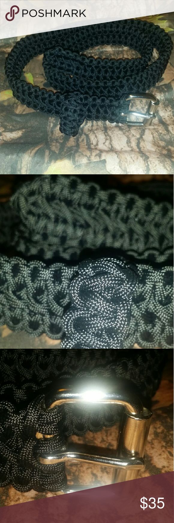DOUBLE COBRA BELT Handcrafted Double Cobra Braided Paracord Black Belt  with Silver Horse Roller buckle and built in Single cobra Braided loop keeper. Military Spec paracord... Super tough and rugged made to last. Everyday usage or for outdoor work/Sports.  * NWOT  * UNISEX Accessories Belts