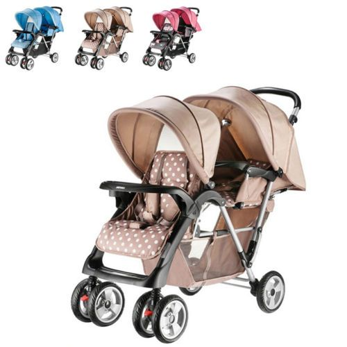 New Twin Baby Tandem Double Pram Buggy Infant Travel Stroller Pushchair Trolley