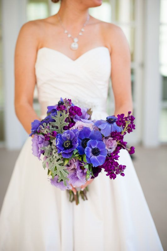 bride's bouquet of purple anemones, lavender roses, purple stock and dusty miller.
