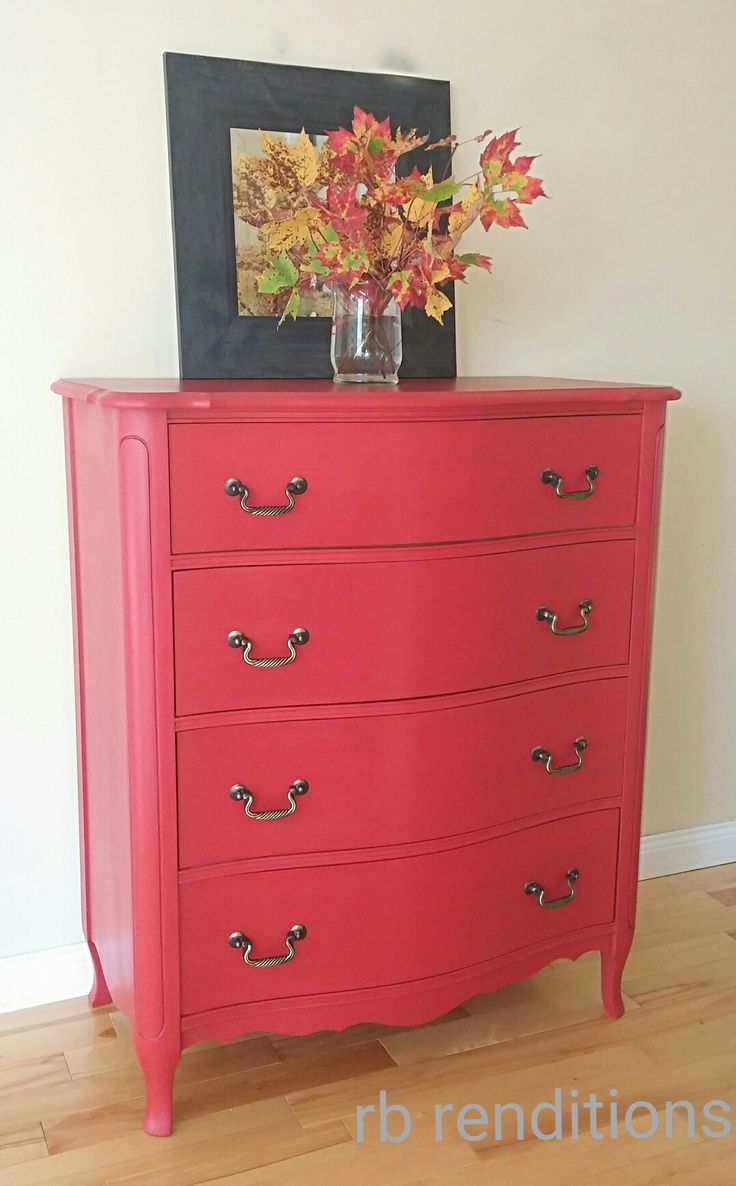 Antique 4 drawer dresser finished with Fusion Mineral Paint's Fort York Red and Dark wax.