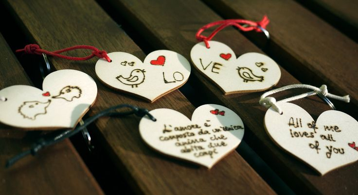 Valentine's gift - Wooden heart keychain, custom keychain, woodburned keychain - gift idea by JoyMadeInItaly on Etsy