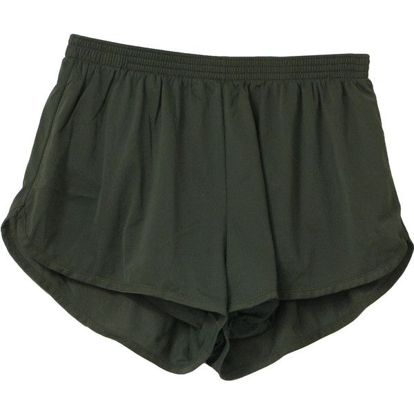 80s Vintage Soffe Shorts: 80s -Soffe- Unisex olive nylon running shorts, with full lining and elastic inner legs, elastic waist and side notched vents.