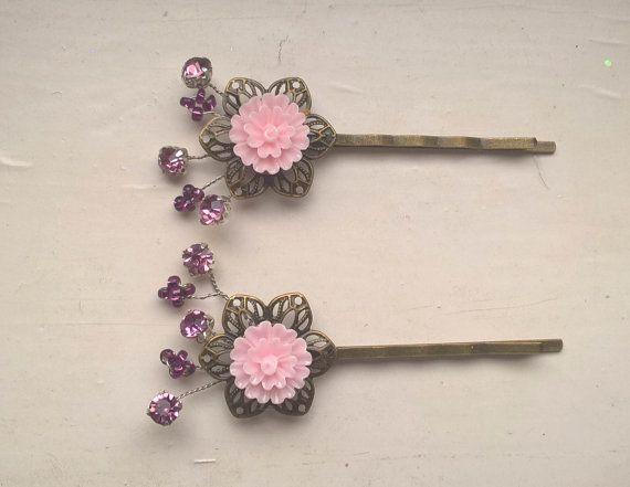 Pink Hair Pins Rhinestone hair pins vintage hair by Glitterperlen