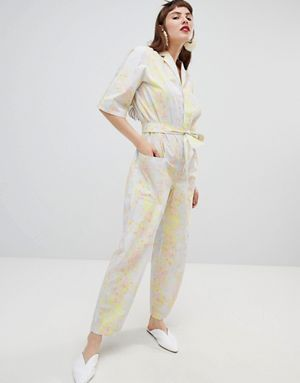 f98d912645f Mango organic cotton jumpsuit in abstract floral print