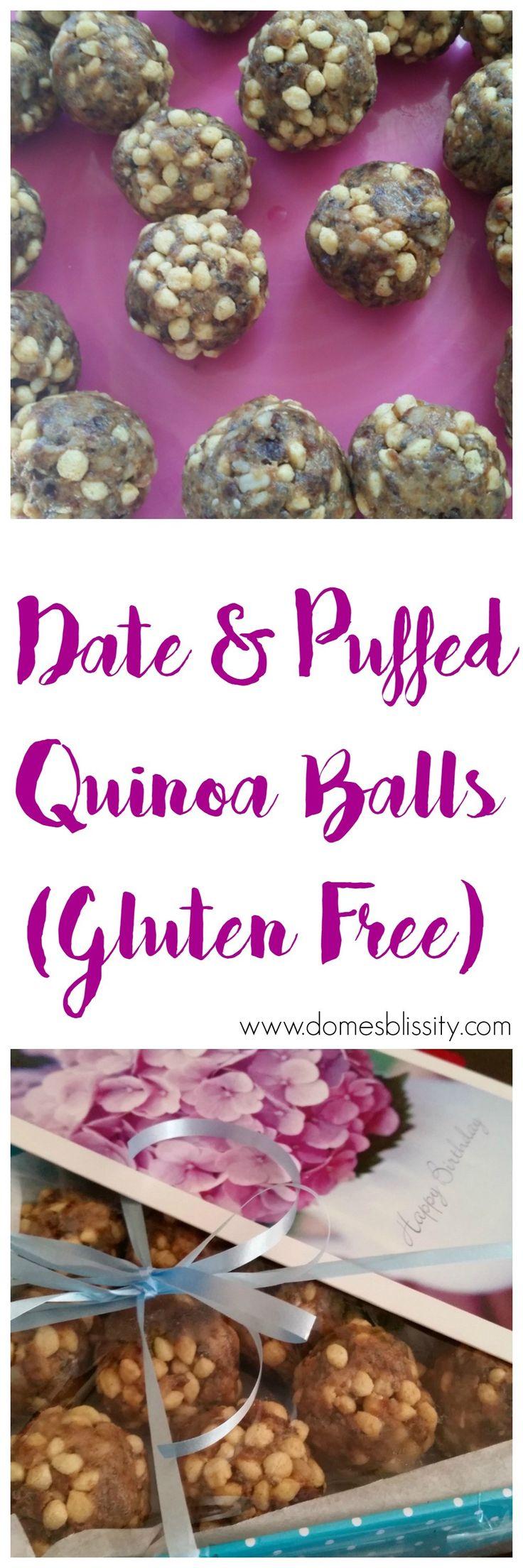 Gluten Free Date Puffed Quinoa Balls - a wholesome snack!