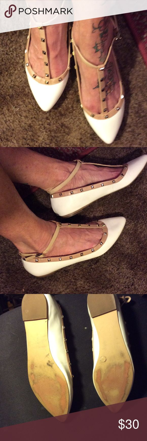 BCBGenerstion Adorable cream colored,beige riveted trim, BCBG  Maryjane style flats. Perfect condition worn once no flaws or marks. BCBGeneration Shoes Flats & Loafers