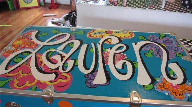 Hand painted camp trunks...for Camp Huawni down the road:)