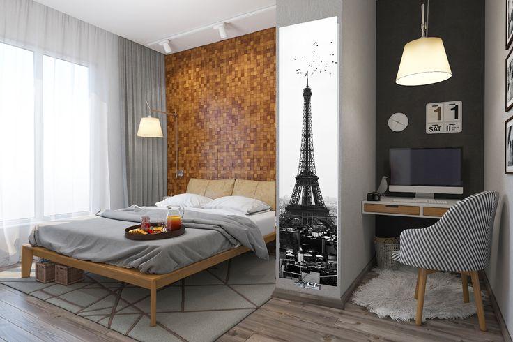 Nowoczesna sypialnia z grzejnikiem szklanym Nova Glass od Radox Radiators. Motyw: Paris