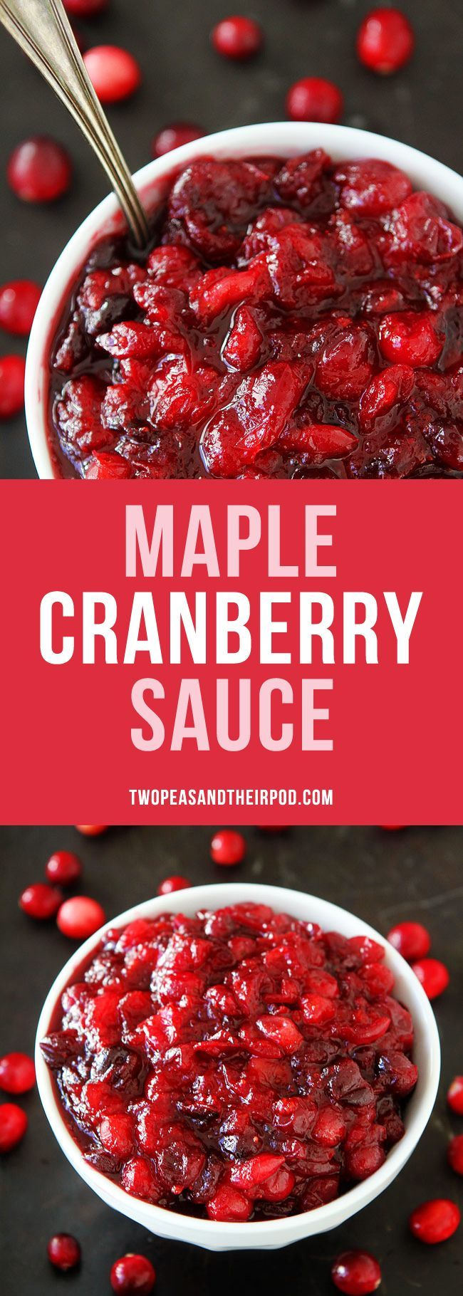 Maple Cranberry Sauce-fresh cranberry sauce sweetened with pure maple syrup, orange zest, orange juice, and a hint of cinnamon. #Thanksgiving #holidays #cranberrysauce #cranberry