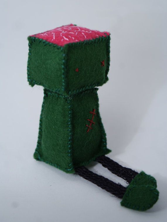 Felt Zombie Green Soft Sculpture Zombie Felt by TinyBeanStore