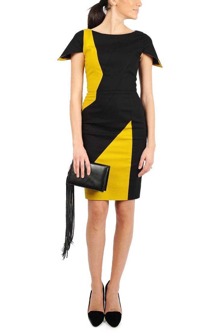 Rochie midi bumbac cu insertii galbene. Recomandari de stil: aceasta rochie de zi, potrivita pentru tinute de birou, poate fi accesorizata cu incaltaminte  sau genti in culori pamantii
