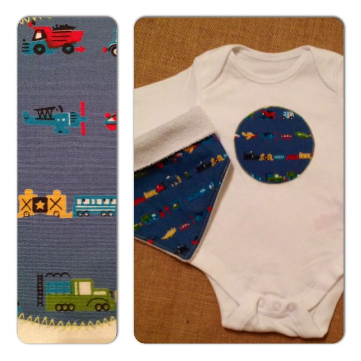 Planes, trains and automobiles appliqued cotton bodysuit with matching bandana bib.