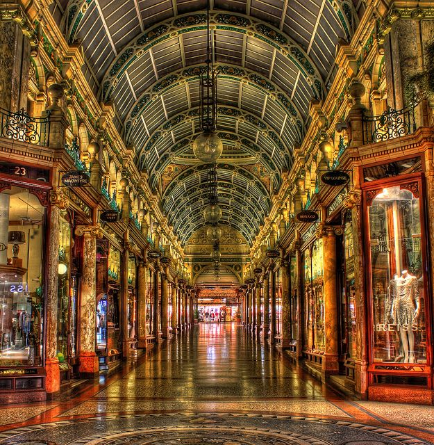 The Victoria Quarter, Leeds. There's a few of these arcades in Leeds just up the street from the new Trinity centre. There's some quirky shops and this is where you will find the designer shops.