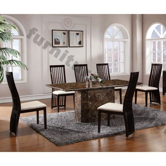 Rimini Rectangle Brown Marble Dining Table + 4 Athena Chairs