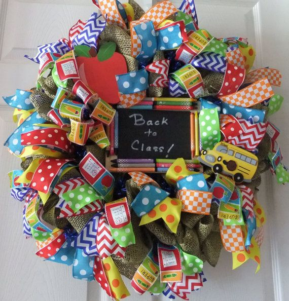 Teachers Appreciation Wreath, Classroom Wreath, Deco mesh wreath, Love my Teacher Wreath, Door Wreath