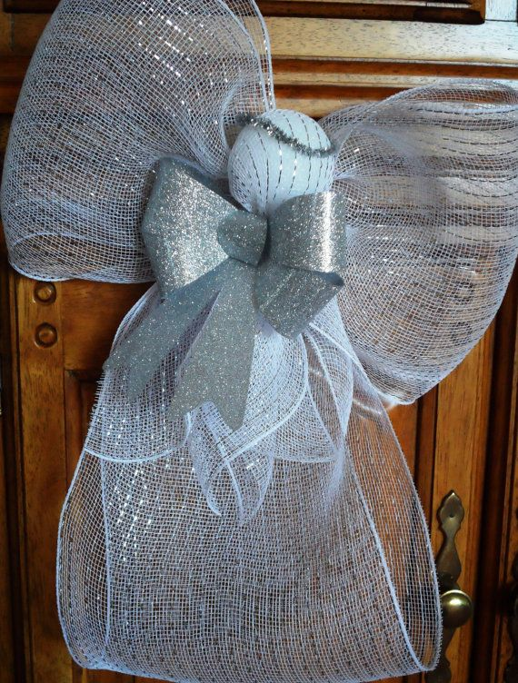 Wnite Deco Mesh Angel with Silver bow by CraftsGaloreEtc on Etsy, $10.00
