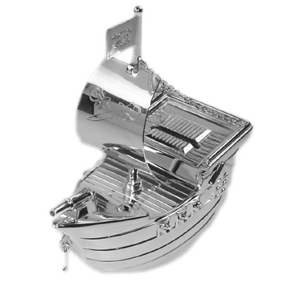 Engraveable pirate ship money box for a baby boy or christening gift - very cool and unusual