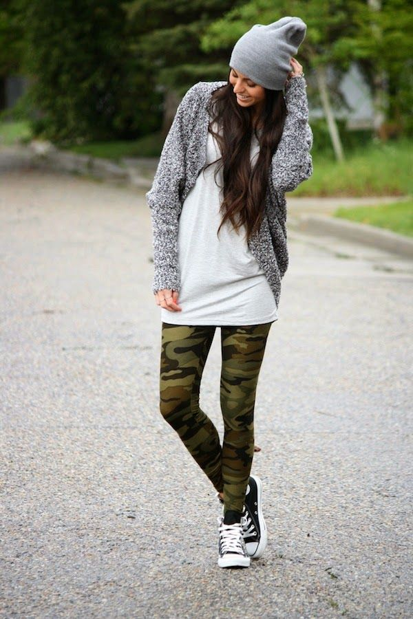 Camo leggings are the best blend of tough & girly! We love the way they can transform any outfit and we're sharing our favorite ways to rock camo leggings! Pair them with a slouchy cardigan, beanie and sneakers for a cool weekend look!
