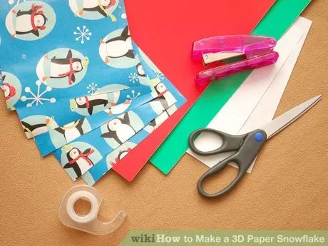 Image titled Make a 3D Paper Snowflake Step 1