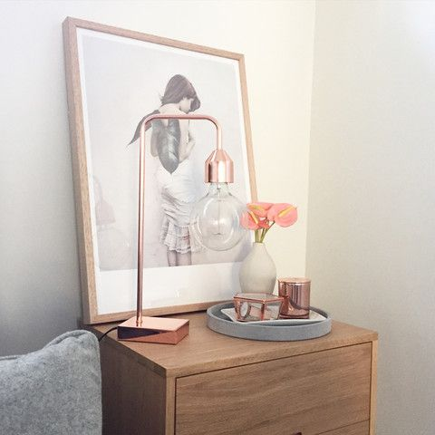 Inspiration | MINT Interior Design Lamp and tray on your bedside A print and greenery (fake) on opp-side