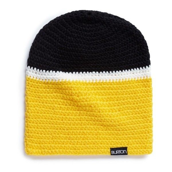 Burton x L.A.M.B. 'Irie' stripe knit beanie ($155) ❤ liked on Polyvore featuring accessories, hats, yellow, striped beanie, yellow beanie, yellow beanie hat, chunky knit beanie and knit beanie caps