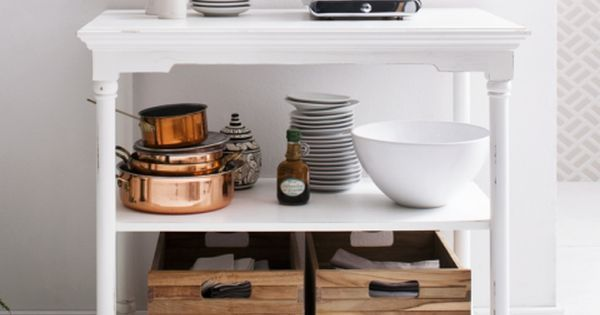 Freestanding kitchen island? Statement console table? Open-faced shelving? This design is all of those things and more. Its wide-reaching shelves can be used in a whole host of ways from storing cookery books, pots and pans and pantry cupboard staples to decorative ornaments and candles.