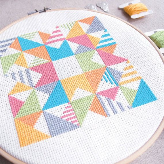 Modern Cross stitch Play with Triangles n Strips by redbeardesign