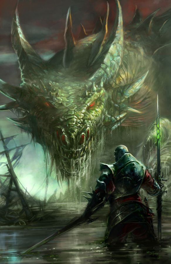 This has to be Gawain facing Myrthor at the edge of the world; the final battle. Facing each other by Brolken on deviantART