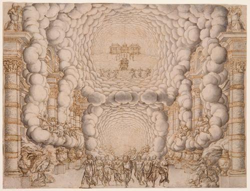 "Giacomo Torelli stage design 9ca. 1670), of Francesco Buti/Isaac de Benserade, ""Les Noces de Pelée et de Thetis"""